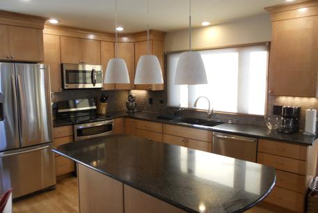 Foxfield Kitchen remodel cherry cabinets and quartz countertops